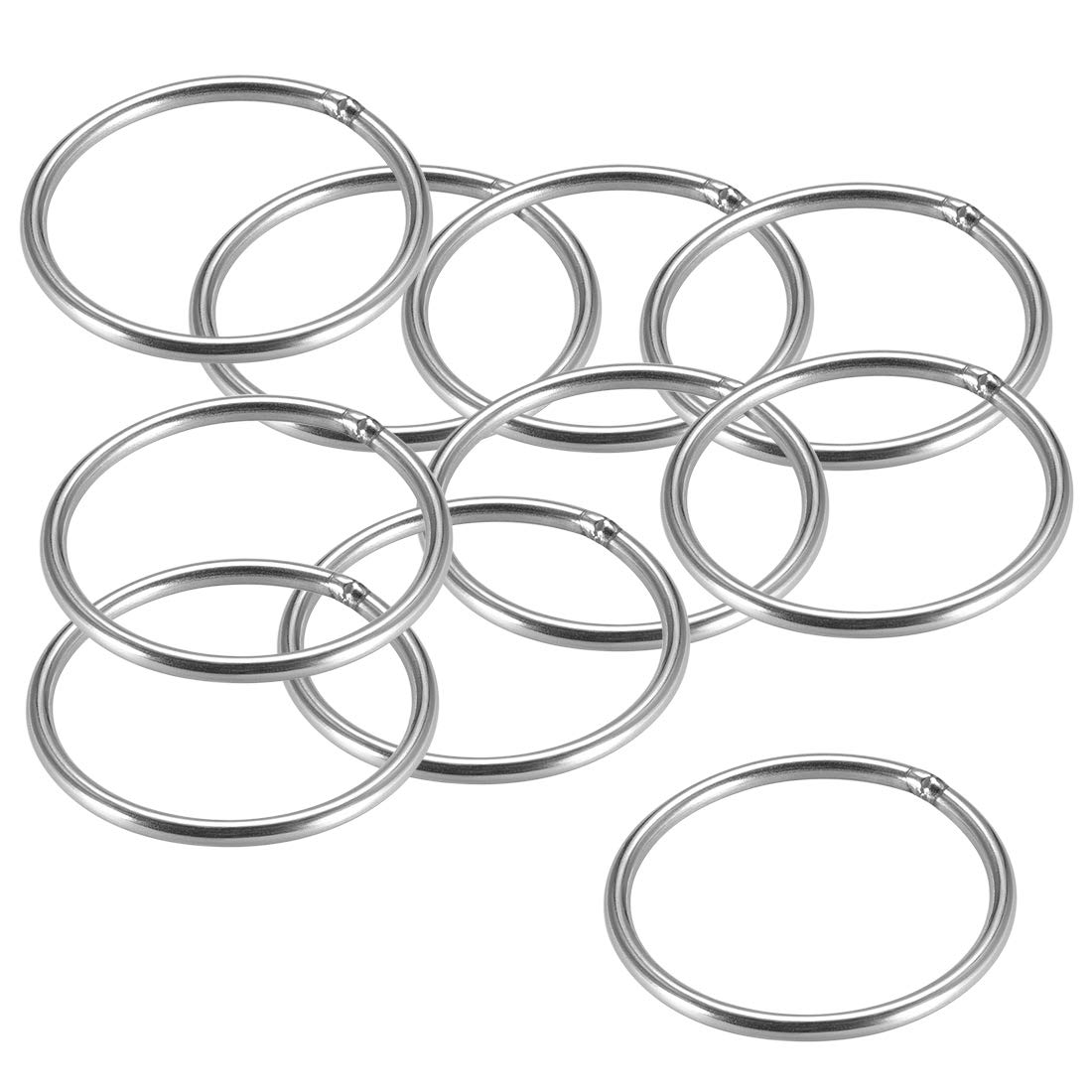 sourcing map Joint torique soud/é 30 x 3mm Cerclage anneaux ronds Acier Inox 10Pcs