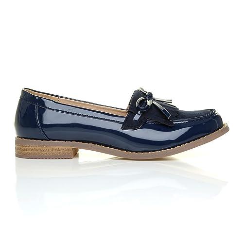 ShuWish UK Milan - Mocasines de Material Sintético para mujer azul azul marino (Navy Patent), color azul, talla 4 UK: Amazon.es: Zapatos y complementos