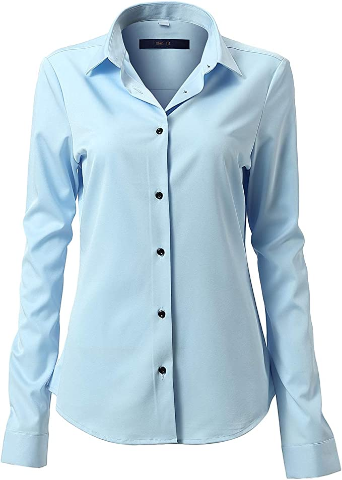 Camisa Blusa Bambú Fibra Clásica Mujer, Manga Larga, Slim Fit, Camisa Elástica Casual/Formal para Mujer: Amazon.es: Ropa y accesorios