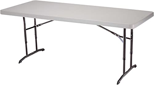 Lifetime 22920 Height Adjustable Folding Utility Table, 6 Feet, Almond