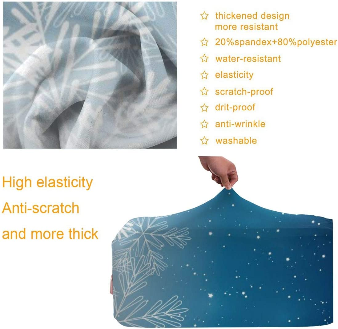 Blue Christmas Snowflakes XL Suitcase Cover Protective Customized Luggage Cover Fits 18-32 Inch