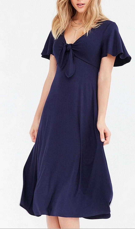 Bigood Ladies Chic Dark Blue Pleated V Neck Long Skirt Dress