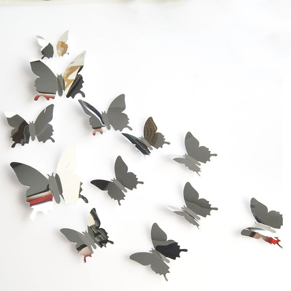 12PCS Butterfly Silver Mirror Decoration Home Room Art 3D DIY Wall Stickers (Silver, a)
