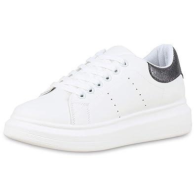 d2950ddb9a57c9 SCARPE VITA Damen Plateau Sneaker Leder-Optik Turnschuhe Schnürer 180041  Weiss Dunkelgrau Metallic 36