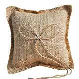 Zehui Wedding Supplies, Bearer Pillow, Rustic Burlap Ring 15x15CM