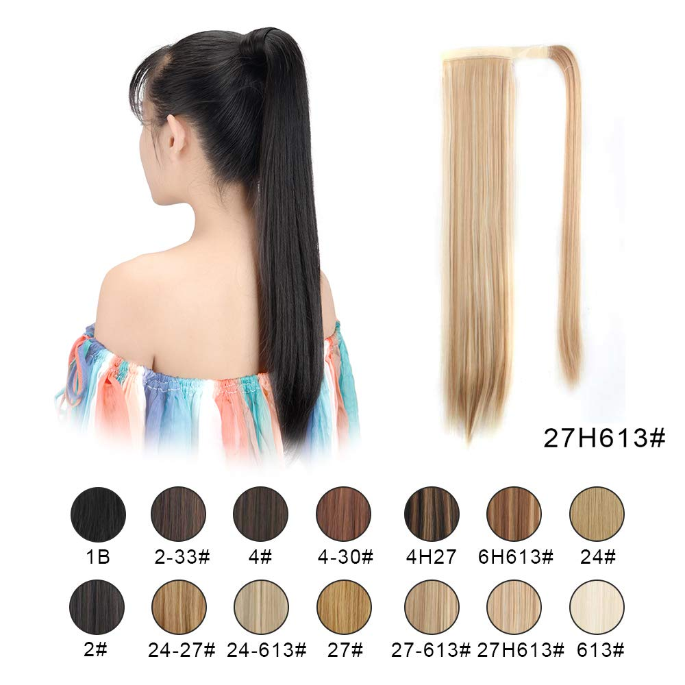 """BARSDAR 26"""" Long Straight Ponytail Extension Wrap Around Synthetic Ponytail Clip in Hair Extensions One Piece Hairpiece Binding Pony Tail Extension for Women (27H613#Strawberry Blonde mix Bleach Blond"""