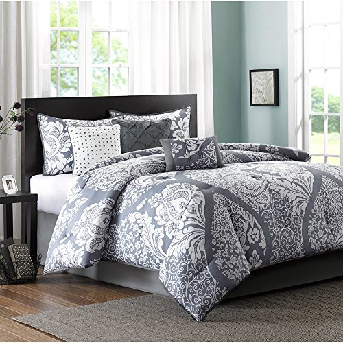 King Size Comforter Set In Modern Paisley Prints On Sale 7 Piece Purple Gray 100 Cotton