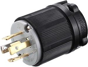 Miady NEMA L14-30P Generator Plug, 30 Amp 4-Prong Industrial Grade Locking Male Plug Up to 7,500W, Grounding Type/UL listed