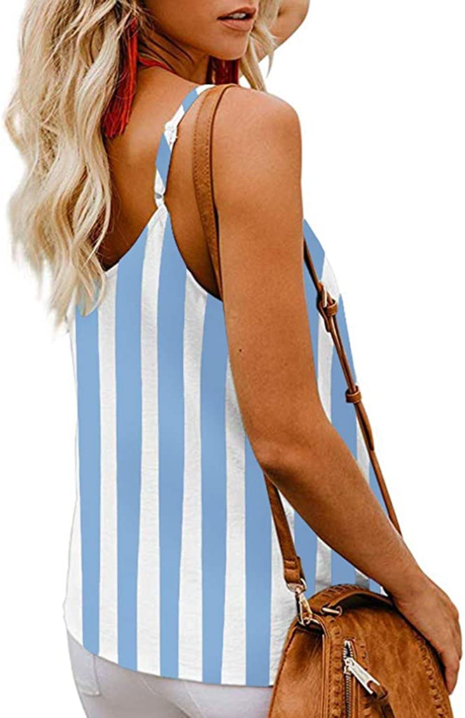 Miuye Womens Button Down V Neck Strappy Tank Tops Casual Sleeveless Chiffon Blouses Vest Sleeveless Shirts