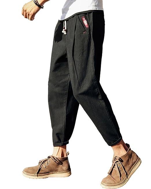 DianShaoA Pantalones Bcagados De Entrepierna Caída para Hombres Cinturón  Elástico Holgados Cómodo Pantalones Harem Negro 5XL  Amazon.es  Ropa y  accesorios f7830e62c38d
