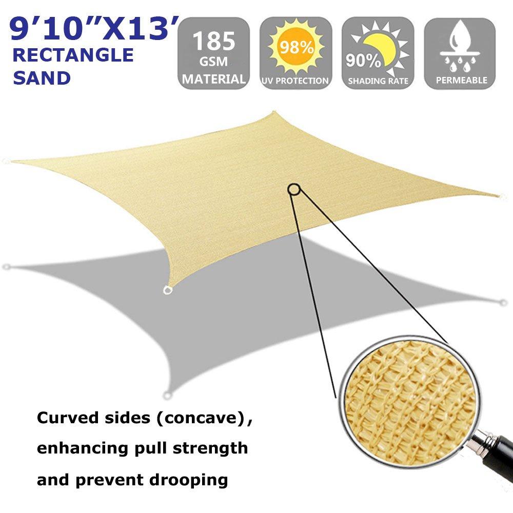 Shade Beyond Rectangle Sun Shade Sail for Patio Lawn Deck Garden Pergola 10 x13 , Sand