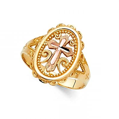 Amazoncom Oval Cross Ring Solid 14k Yellow Rose Gold Religious