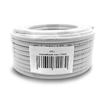 HD Verlängerungskabel 15 m Anschlusskabel 135dB Verbinder Sat koax Kabel 4K ARLI