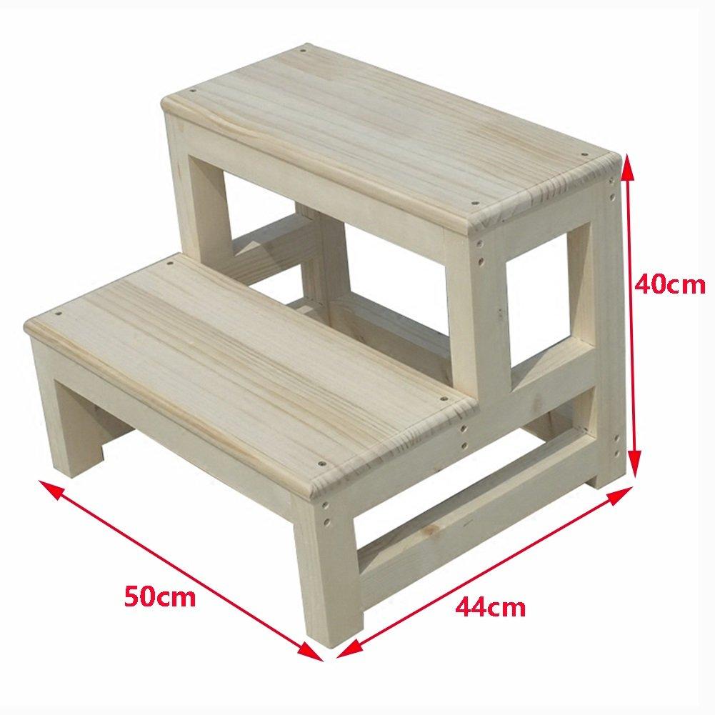 Dimensioni : 40 * 44 * 40cm Zfggd Scaletta in Legno a 2 gradini Scaletta Scaletta per Uso Domestico Scala in Legno massello