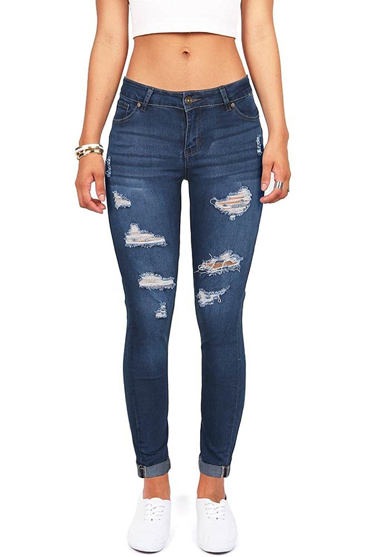 Wax Women's Juniors Distressed Slim Fit Stretchy Skinny Jeans (13, Dark Denim)
