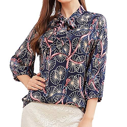 JESPER Women Half Sleeve Office Ladies Bow-Knot Neck Print Business Shirt Casual Top Blouse Blue