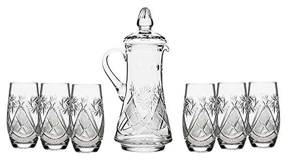 Set Of 7 50 Oz Hand Made Vintage Cut Crystal Beverage Carafe With 6 Tumblers Russian Crystal Pitcher Set Old Fashioned Glassware