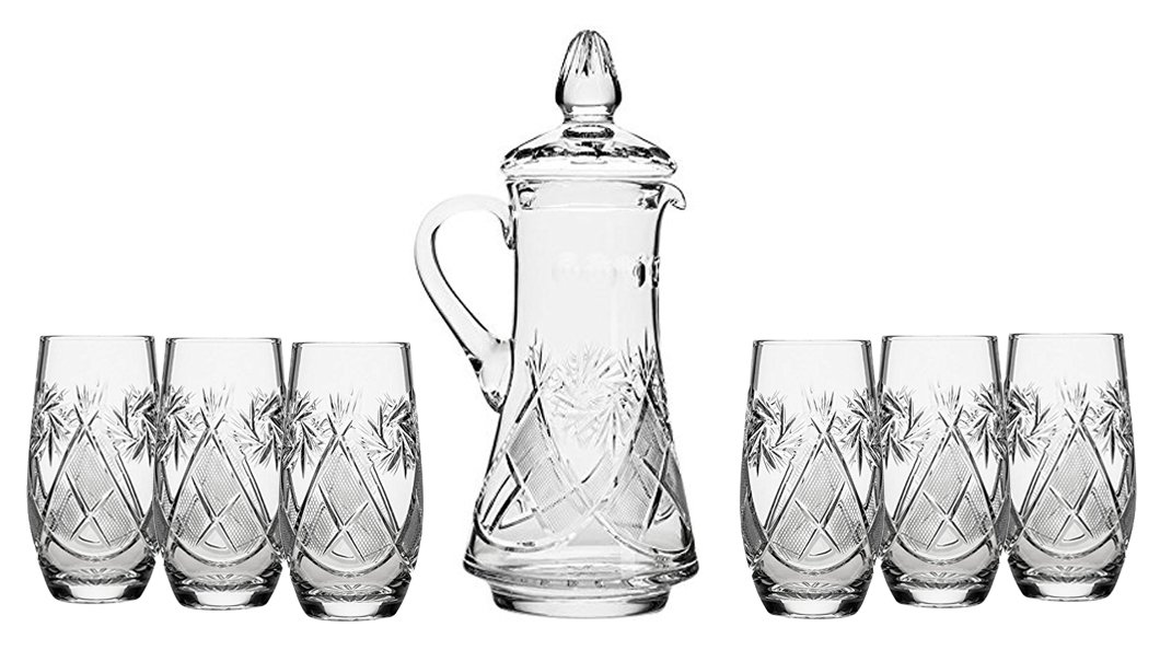 Set of 7 50-Oz Hand Made Vintage Cut Crystal Beverage Carafe with 6 Tumblers, Russian Crystal Pitcher Set, Old-fashioned Glassware
