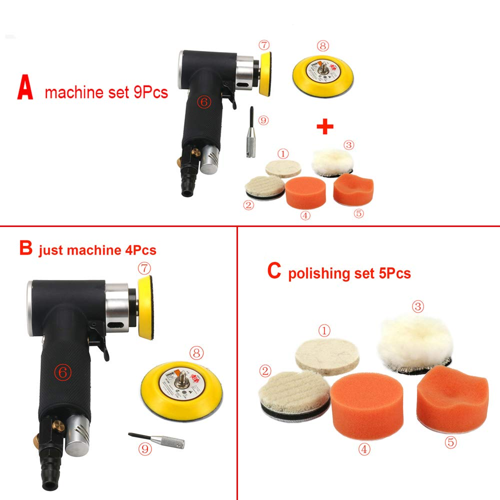 Join Ware Pneumatic Air Sander Orbital Polisher Machine Polishing For Auto Body Car Tool 2 3 Orbital Sander Woodworking Rust Removal