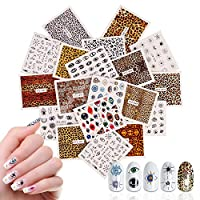 19 Sheets Leopard Eye Design Nails Art Stickers, Mwoot Fresh Water Transfer Nail Art Decorations Fingernails Toenails Manicure Tips Decor Accessories