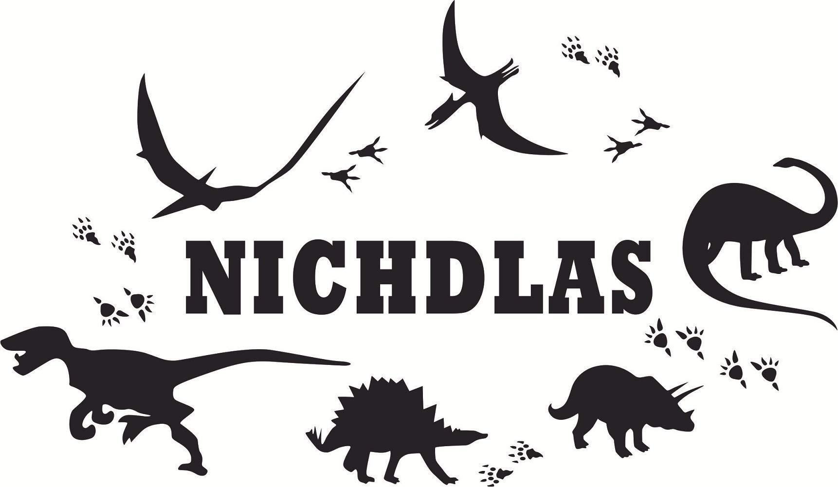 Cool Custom Made Personalized Dinosaur Footprint Name Wall Sticker