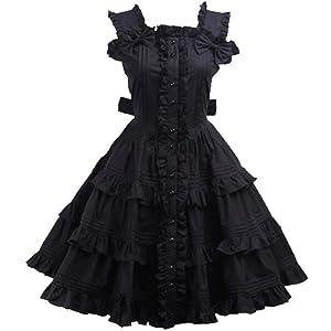 Partiss Women's Cotton Black Ruffle Sweet Lolita Dress,XXL,Black