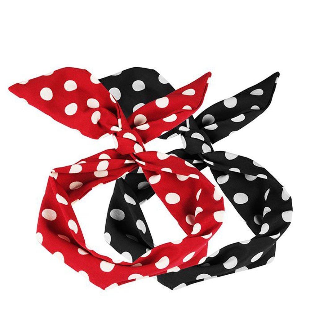 5 Beauty Haarband f/ür Damen Hochzeit mit Polka Dots Flexible Haarschmuck Haarb/änder