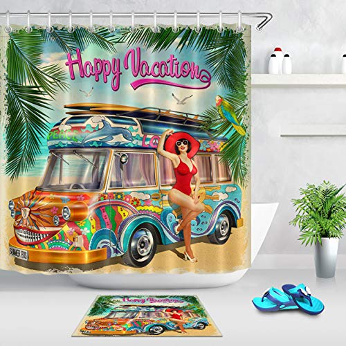 (LB Beach Themed Shower Curtain Hot Girl Posing at Tour Bus with Palm Leaves Summer Poster Happy Vacation Shower Curtain Set,Waterproof Fabric 72x72 Inch with 16x24 Inch Bath Mat)