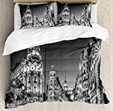 IDOWMAT Black and White Decorations Twin Duvet Cover Sets 4 Piece Bedding Set Bedspread with 2 Pillow Sham, Flat Sheet for Adult/Kids/Teens, Madrid City Night Spain Main Street Ancient Architecture