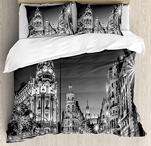 IDOWMAT Black and White Decorations Twin Duvet Cover Sets 4 Piece Bedding Set Bedspread with 2 Pillow Sham, Flat Sheet for Adult/Kids/Teens, Madrid City Night Spain Main Street Ancient Architecture by IDOWMAT