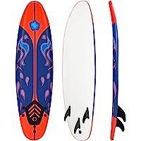 Giantex 6' Surfboard Surfing Surf Beach Ocean Body Foamie Board with Removable Fins, Great Beginner Board for Kids…