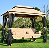 Outsunny Outdoor 3 Person Patio Daybed Canopy Gazebo Swing Chair Bed Hammock with Mesh Mosquito Net and Waterproof Sun Shade