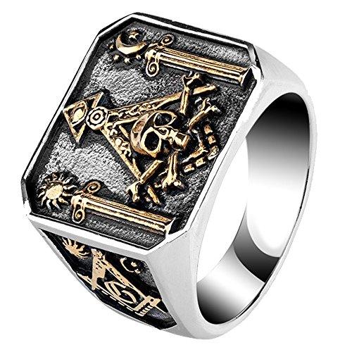 (For Fox Mens Womens Vintage Titanium Steel Masonic Illuminati Ring Pillars & Skull & Crossbones Gold Tone Size 10)