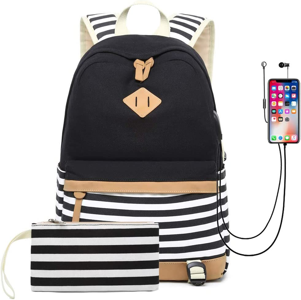 Waterproof Canvas Backpack for College Girls Women USB Charging Port Fits 14 Laptop Backpack Daypack School Bookbag Black