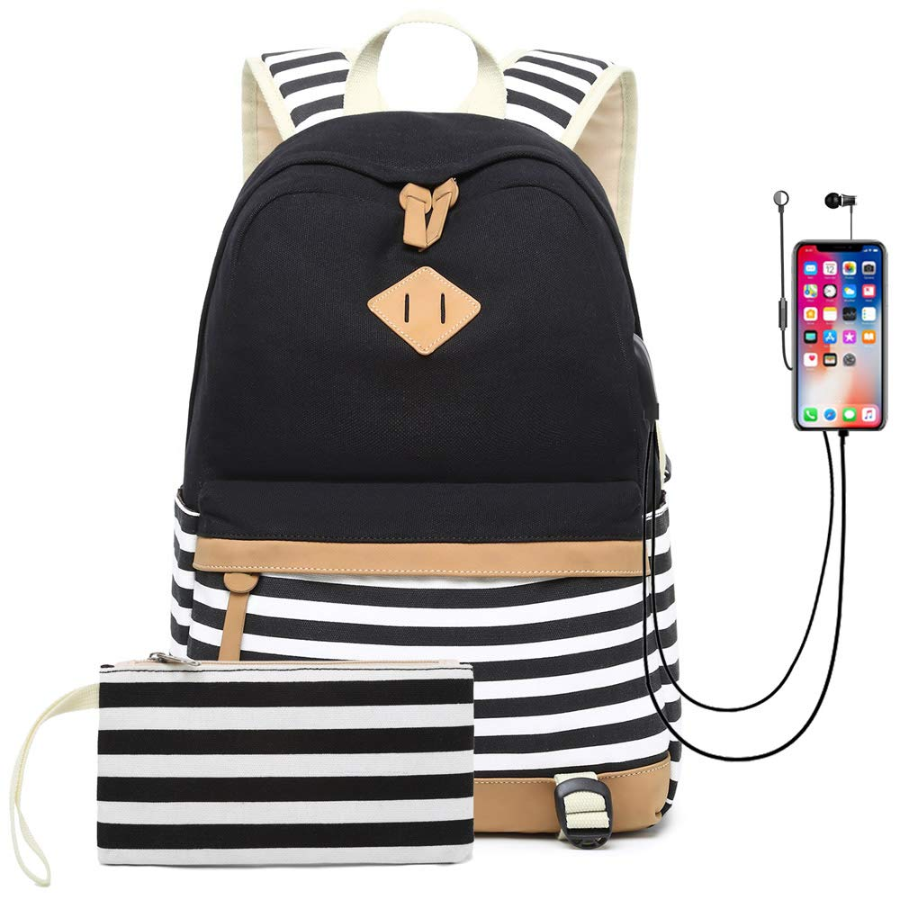 Waterproof Canvas Backpack for College Girls Women USB Charging Port Fits 14'' Laptop Backpack Daypack School Bookbag (Black)