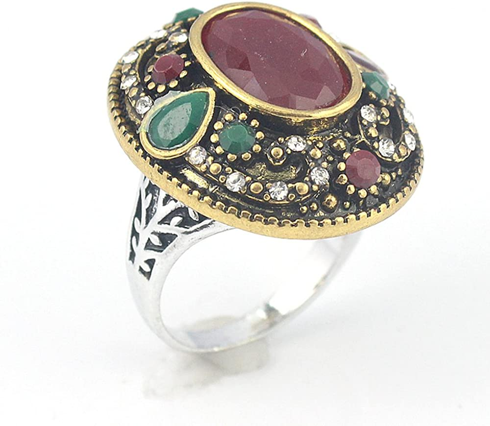 RUBY EMERALD VICTORIAN JEWELRY SILVER PLATED AND BRASS RING 10 S23760