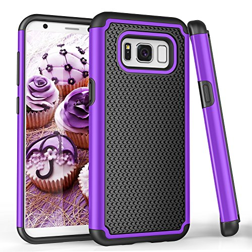 Samsung S8 Case, Galaxy S8 Case, Galaxy S VIII Case, TILL(TM) [Purple] [Shock Absorption] Dual Layer Hybrid Armor Defender Protective Case Cover Shell for Samsung Galaxy S8/ S VIII 5.8Inch