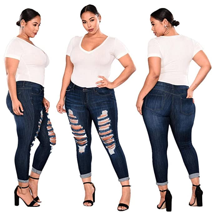 08603b6e2244c Goodlock Women High Waist Pants Plus Size(XXL-7XL) Ripped Stretch Slim Denim