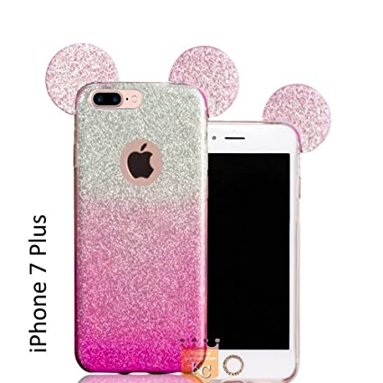 uk availability 7831d f0cee KC Cute Ears Glitter 2 in 1 Transparent Soft Apple iPhone 7 Plus Back Cover  for Girls (Pink)