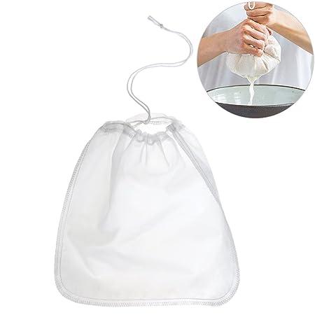 200μm Nut milk bag,OUNONA bolsa para hacer leches vegetales,bolsa para hacer queso, zumos vegetales, arroz, semillas...etc,100% Nylon Perfecto como ...