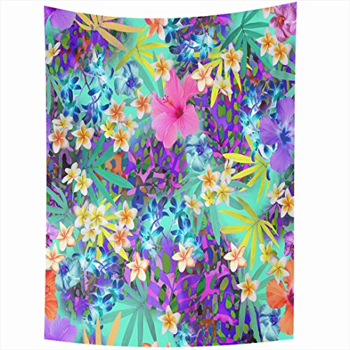 - Ahawoso Tapestry 60 x 80 Inches Hawaiian Blue Tropics Tropical Flowers Spots Swatch Pink Pattern Floral Neon Skin Design Wall Hanging Home Decor Tapestries for Living Room Bedroom Dorm