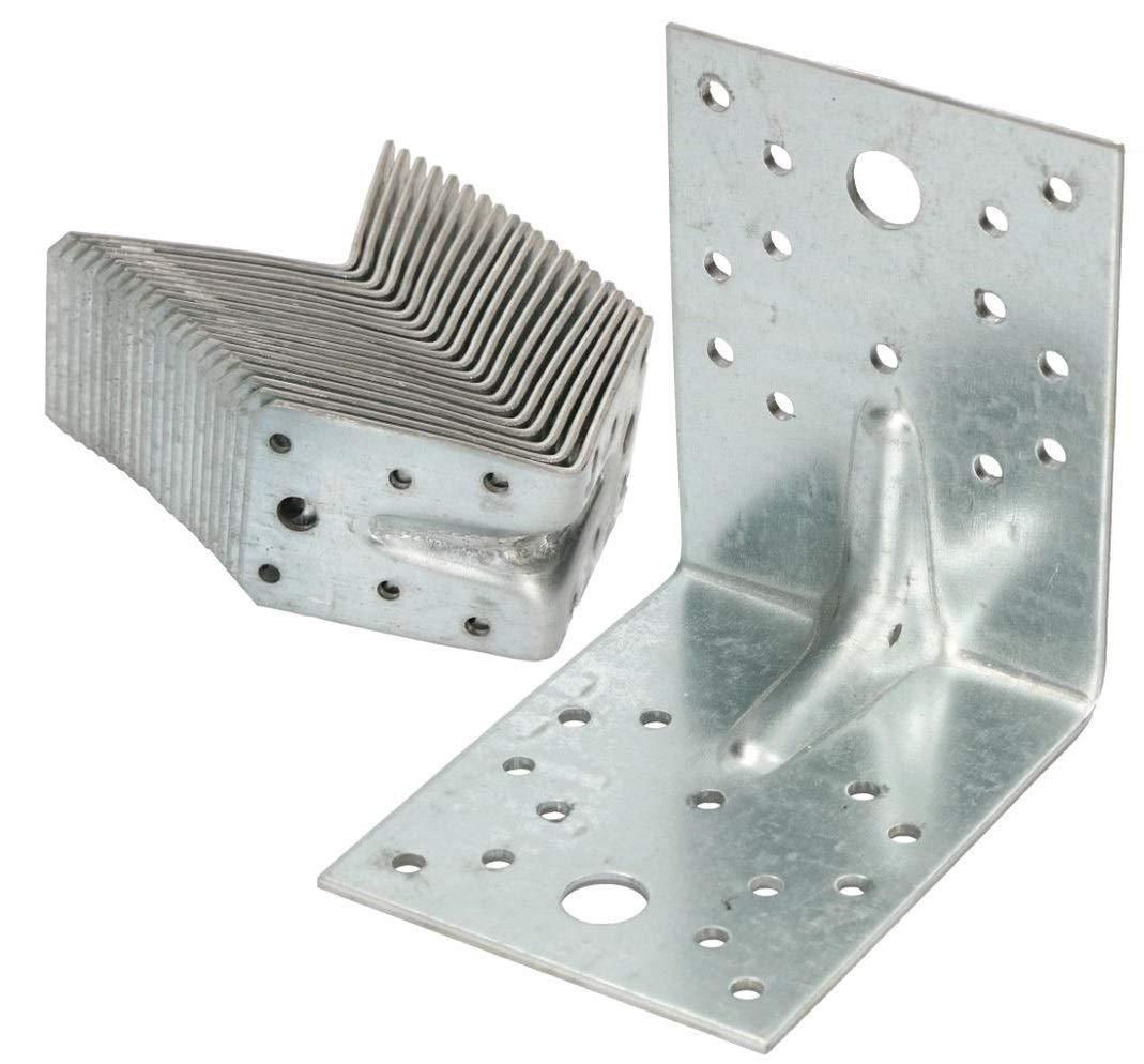 KOTARBAU Winkelverbinder 100x100x80mm mit Rippe Sicke Lochwinkel Bauwinkel Holzverbinder Balkenwinkel Verbinder Top Qualit/ät Winkel Silber 50 St.