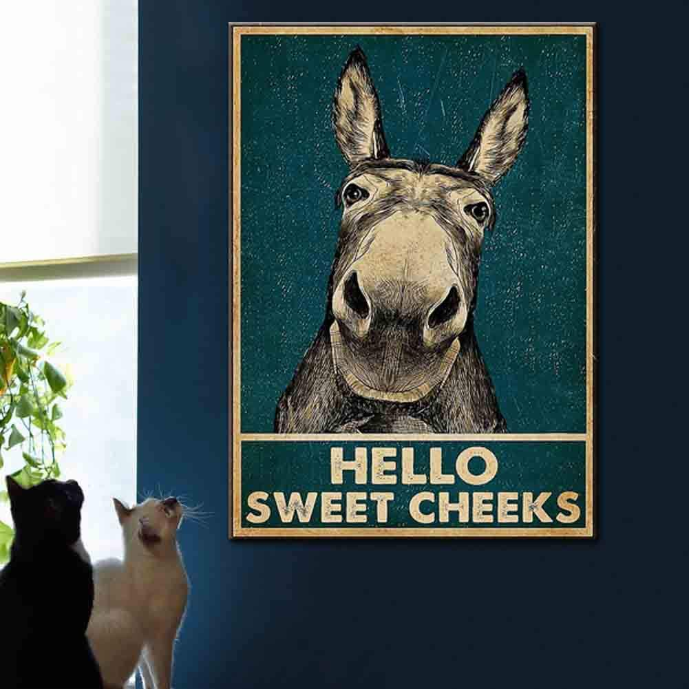 Hello Sweet Cheeks Donkey Sign Wall Art Canvas Print Funny Vintage Retro Poster Paintings Cool Home Bedroom Bathroom Decor Picture Vertical Stretched and Framed Ready to Hang 12x18 inch