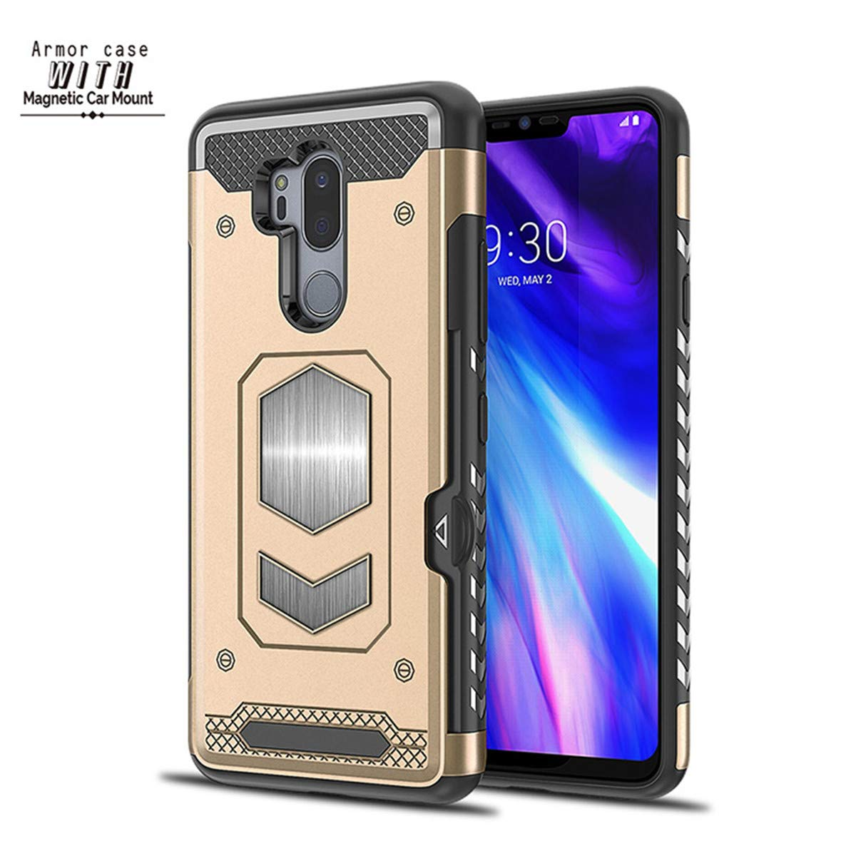 Case for LG G6 G7, Magnetic Dual Layer Military Armor Series Car Mount Card Holder Phone Case for LG G7 ThinQ