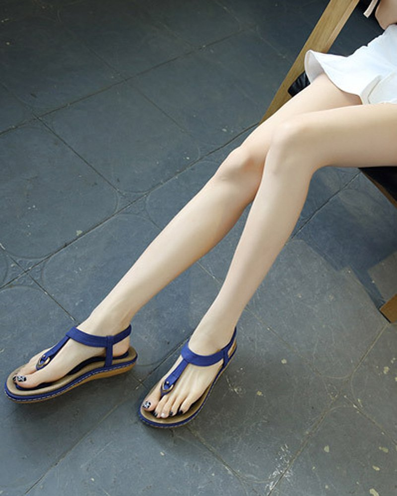 Maybest Ladies Style Flat Sandals- Women Summer Roman Sandals Comfy Shoes Blue US 7 by Maybest (Image #5)