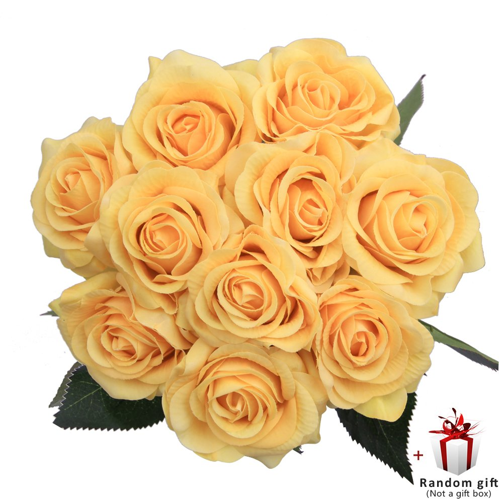 Judy Fakeバラ10個人工花Arrangementsウェディングブーケ装飾 イエロー B07D14P4K4 イエロー イエロー