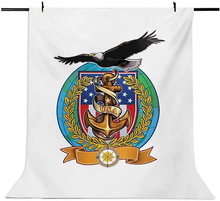 US Navy 10x15 FT Backdrop Photographers,Flying Bald Eagle with an Anchor and a Windrose Symbol of Freedom United States Background for Child Baby Shower Photo Vinyl Studio Prop Photobooth Photoshoot