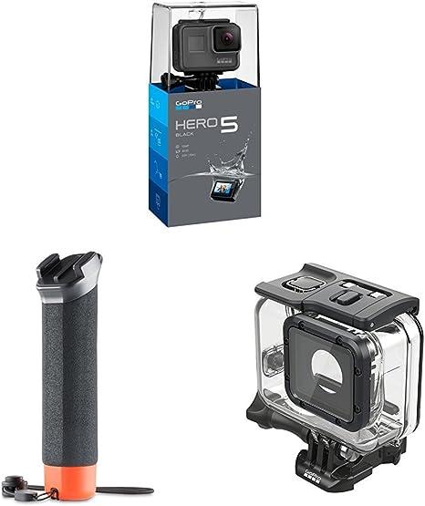 Pack GoPro Hero5 Black - Cámara deportiva 12 Mp (4K, 1080p, WiFi + Bluetooth, control por voz, pantalla táctil) + Carcasa para buceo (hasta 60m) + Empuñadura flotante: Amazon.es: Electrónica