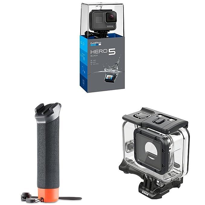 Pack GoPro Hero5 Black - Cámara deportiva 12 Mp (4K, 1080p, WiFi + Bluetooth, control por voz, pantalla táctil) + Carcasa para buceo (hasta 60m) + ...