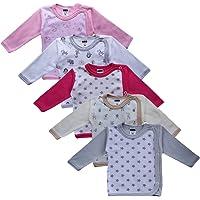 MEA BABY Juego de 5 camisetas envolventes para bebé, de algodón, para niñas, para bebé